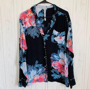 Intimately Free People Black Floral Pajama Top